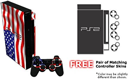 USA Flag Design Decal Skin Sticker for Sony Playstation 2 PS2 Console