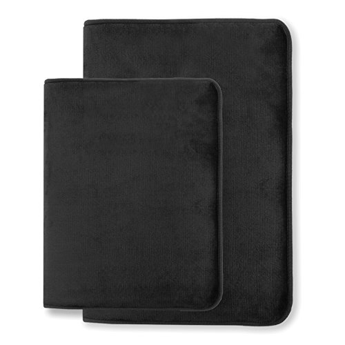 "Memory Foam Bathrug – Black Bath Mat, Set Of 2, Large 20"" x 32"", And A Small 17"" x 24"", Non Slip Latex Free Plush Microfiber. Comfortable, Beautiful and Maximum Absorbency."
