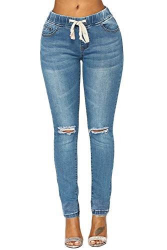 Ouregrace Womens Elastic Drawstring Waist Denim Pants Pull on Skinny Denim Jeans Leggings