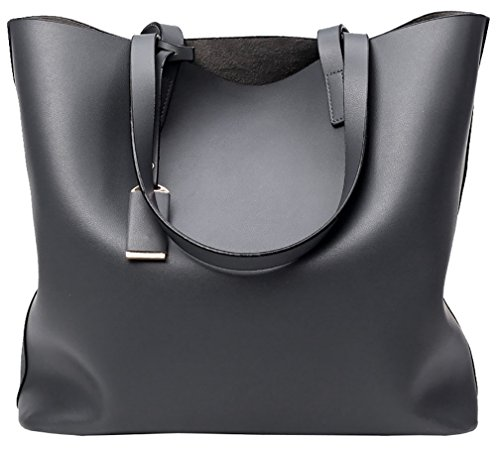 Handbag Large Capacity Pcs 2 Leather Grey Set Faux Bag black Ladies Big Shoulder Tote wXpqCv08