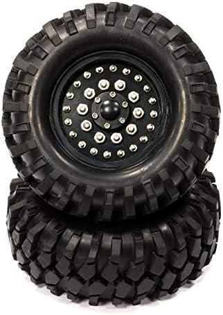 Integy RC Model Hop-ups C24506BLACK Billet Machined H4 Spoke 1.9 Wheel & Tire Set (2) for Scale Crawler (O.D.=95mm)