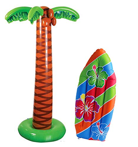 4E's Novelty Tropical Inflates, 1 inflatable Palm Tree 66 inches - 1 Inflatable Surfboard 36 inches - Luau Party Decor, Great for Pool and Beach Party Favors Supplies