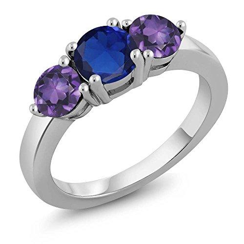 1.90 Ct Round Blue Simulated Sapphire Purple Amethyst 925 Sterling Silver Ring (Sapphire Purple Round)