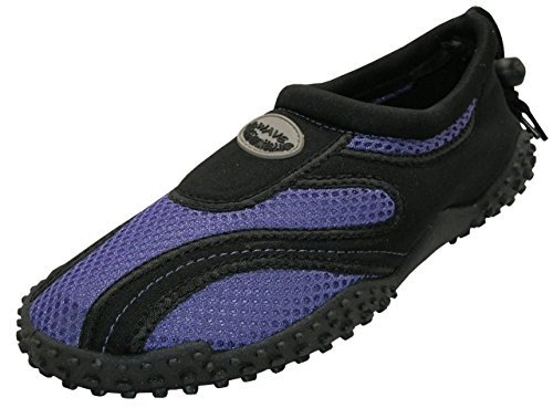 Easy USA Womens Aqua Wave Water Shoes (8, Black/Purple)