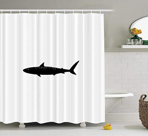 WAYATO Cute-Shark-Fin Fabric Shower Curtain, Bathroom Shower Curtains Tiger Shark Australia Quality Graphic Baby Signs Symbols Waterproof for Bathroom Bath Tub Set of 12 Hooks 72x78 inches