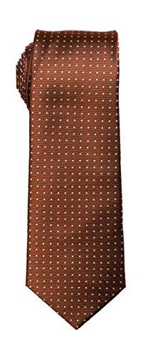 (SPREZZA Men's Light Brown Polka Dot Silk Tie Classic 2.75 inch Slim Necktie)