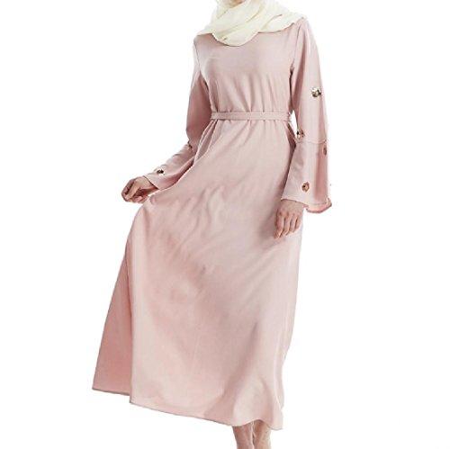 Confortables Femmes Grande Pendule Sequin Partie Mode Flare Solide Musulman Rose Robe Longue