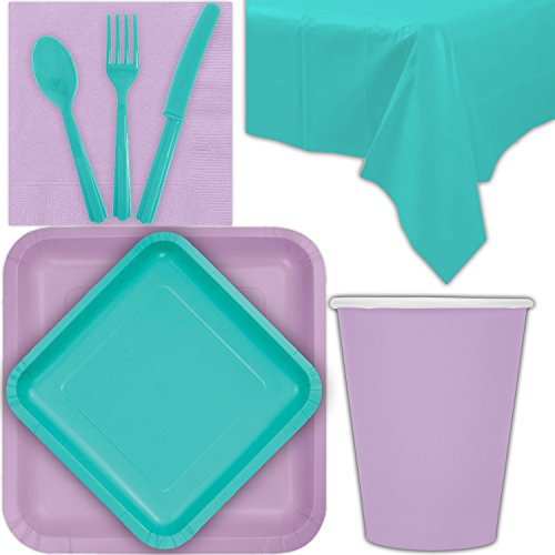 Disposable Party Supplies for 28 Guests - Lavender and Caribbean Teal - Square Dinner Plates, Square Dessert Plates, Cups, Lunch Napkins, Cutlery, and Tablecloths: Premium Quality Tableware Set