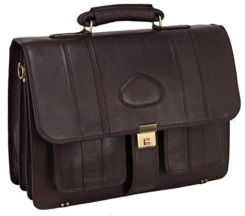 LV Genuine Leather 17 Inches Laptop Briefcase Bag 16 Inch Laptop Compartment 22 Liters Capacity Expandable Features Amiet Swiss Lock Closure (Brown) (Italian Brown Softy Leather)