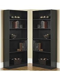 Orion Wide 5 Shelf Bookcase Black (Pack Of 2)
