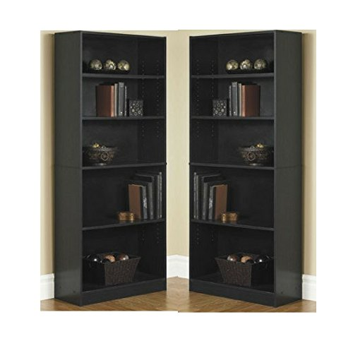 Orion Wide 5 Shelf Bookcase Black  Pack of 2  (Large Image)