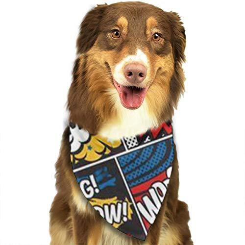 ZZJIAK Dog Bandana Scarf Boom Bam Hip Pop Art Triangle Bibs Printing Kerchief Set Accessories Dogs Cats Pets]()