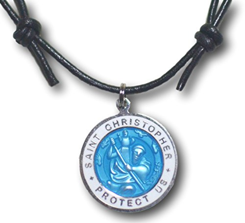 - Native Treasure Choice of One - Large Colored St. Christopher Medal, Adjustable Black Leather Cord (Baby Blue/White)