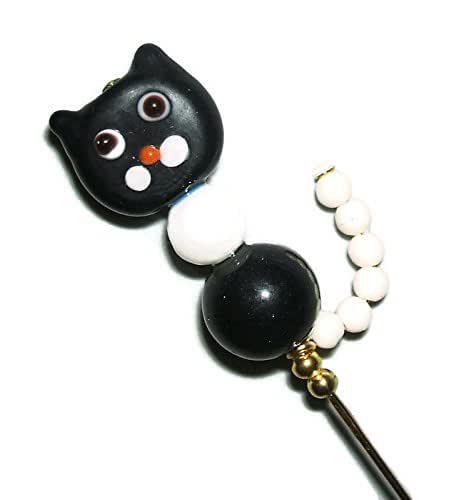 Cat Hat Pins: Amazon.com: BLACK WHITE CAT With TAIL Lampwork GLASS Stick