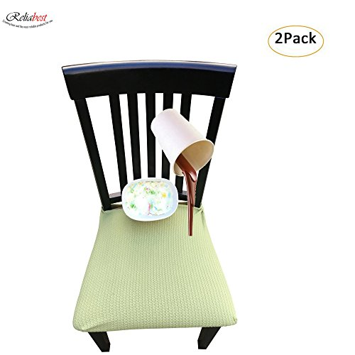 Waterproof Dining Chair Cover Protector - Pack of 2 - Perfect For Pets, Kids, Elderly, Wedding, Party - Machine Washable, Elastic, Removable, Premium Quality, Clean the Mess Easily (Light Green)