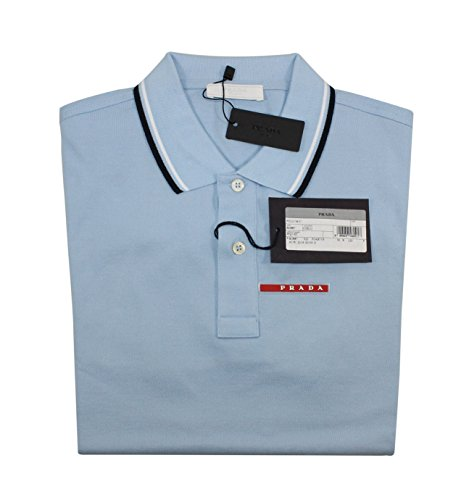 Prada Men's Cotton Piqué Short Sleeve Slim Fit Polo Shirt, Sky-Blue (Cielo) - White Prada Polo