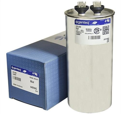 Trane CPT01074 / CPT-1074 - 80 uF MFD x 440 VAC Genteq Replacement Capacitor Round # C480R / 27L322