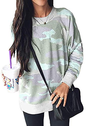 (Pullover Tops for Fall for Juniors Fashion Camouflage Print Loose Fit Casual Sweatshirts for Leggings Green)