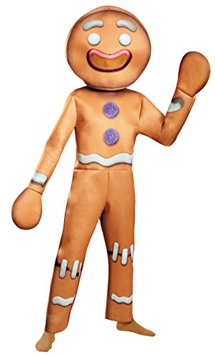 [UHC Gingy Deluxe Shrek Movie Gingerbread Man Outfit Halloween Fancy Costume, OS (42-46)] (Gingerbread Man Halloween Costume)