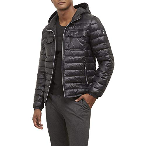 Kenneth Cole New York Reflective Hooded Puffer Jacket - Men's - Black (Cole York New Kenneth Keep)