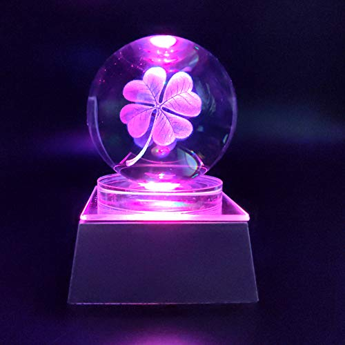 JINGDIAN Crystal LED Lucky Four-Leaf Clover W/Multicolor Lamp Light Ball