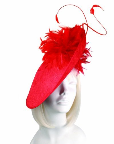 Profile Sinamay Dish Fascinator - M30 RED by Mr. Song Millnery