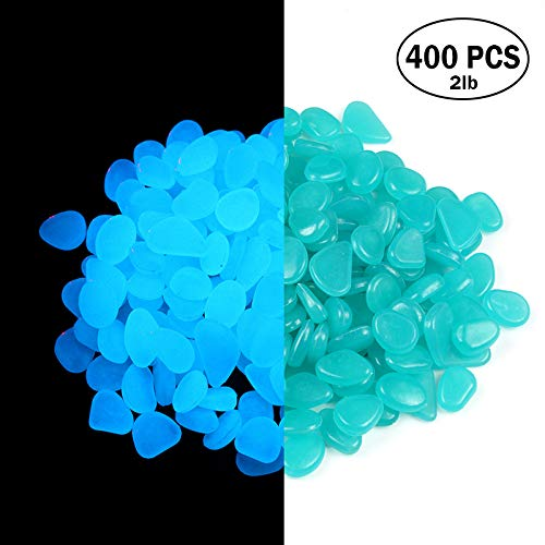 2lb 400PCS Glow in the Pebbles Stones for Indoor and Outdoor Walkways Garden Driveway Large Bag Powered By Light And Solar (Blue) by WYNMarts