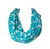 Womens Interlocking Chain Square Pattern Scarf w/Zipper Pocket - Pop Fashion (Teal)