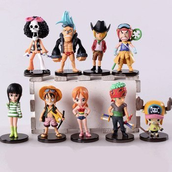 - 9pcs/lot 6-9cm. Anime One Piece Mini Action Figures the Straw Hats Luffy/roronoa/zoro/sanji/chopper Figure Toys