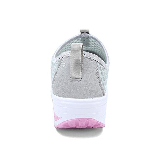 Annabelz Femmes Maille Chaussures Glisser Sur Toning Chaussure Fitness Chaussures De Marche Travailler Sur Sneaker Gris