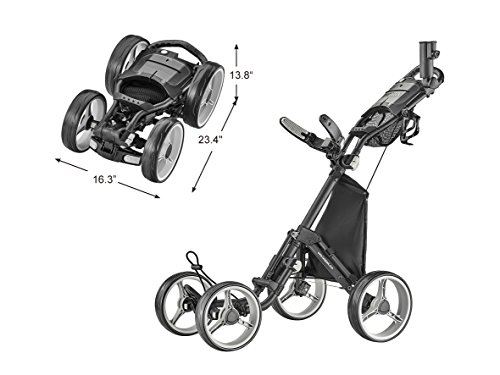 (CaddyTek Explorer V8 - SuperLite 4 Wheel Golf Push Cart, Explorer Version 8, Dark Grey)