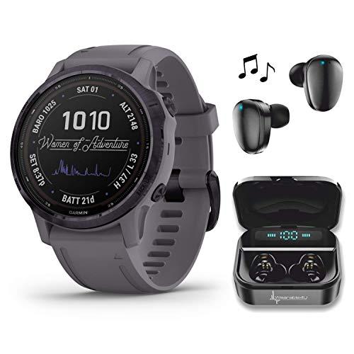 Garmin Fenix 6S Pro Solar Women of Adventure Premium Multisport GPS Smartwatch with Included Wearable4U Ultimate Black Earbuds and Charging Power Bank Case Bundle (Amethyst Steel w/Shale Gray Band)