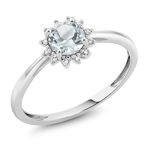 Gem Stone King 10K White Gold Sky Blue Aquamarine and Diamond Women's Engagement Ring 0.40 Ct Round Available in (Size 8)