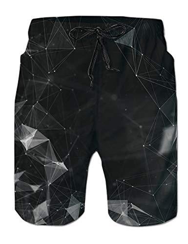 Uideazone Mens Black Diamond Quick Dry Elastic Drawstring Boardshort Beach Shorts Pants Swim Trunks Ideas Swimsuit with -