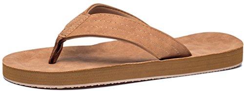 Viihahn Men's Flip Flops Summer Beach Sandals Lightweight EVA Sole Classical Comfortable Extra Large Size Wide Platform Thong Fashion Arch Support Non-Slip Slippers Size 10 US Tan (Thong Men Sandals)