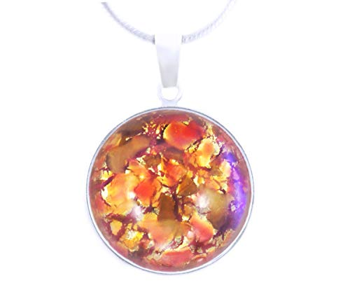 Gustav Klimt Collection, Fire Opal, Red Gold Blue Flare Crystal, 925 Sterling Silver 18mm Round Pendant W Bail Necklace Handmade -
