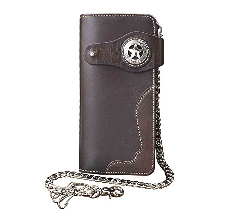 Card Cow Chain Holder Men Motorcycle Leather Wallet Casual Purse Genuine x51X0XZqw