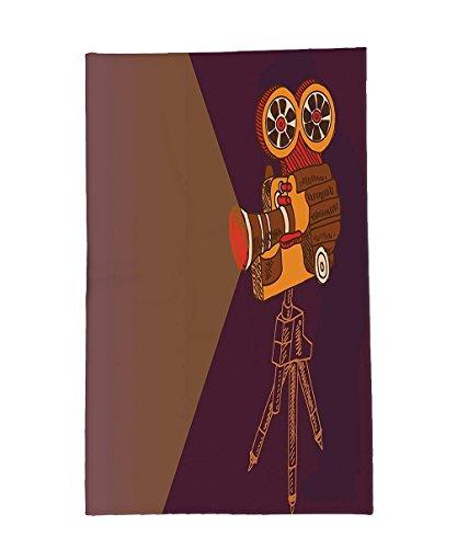 Interestlee Fleece Throw Blanket Vintage Decor Classic Movie Theater Machine with Cinema Fest Typography Past Filmmaker Brown Purple