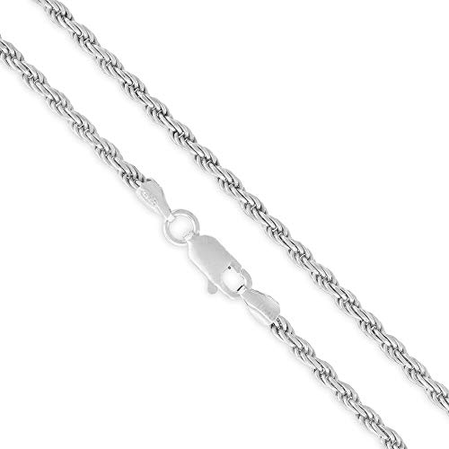 "Sterling Silver Italian 2.5mm Rope Diamond-Cut Link ITProLux Solid 925 Twisted Chain Necklace 16"" - 30"" (24)"