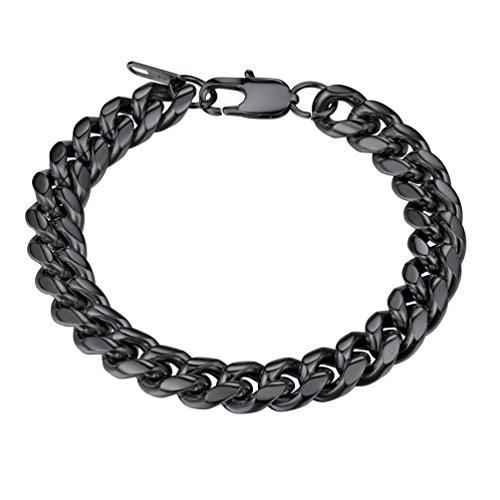 - PROSTEEL Black Bracelet,Stainless Steel Chain Chunky Cuban Link Bracelet,Pulseira Masculina,Men Jewelry Gift Punk Bracelet