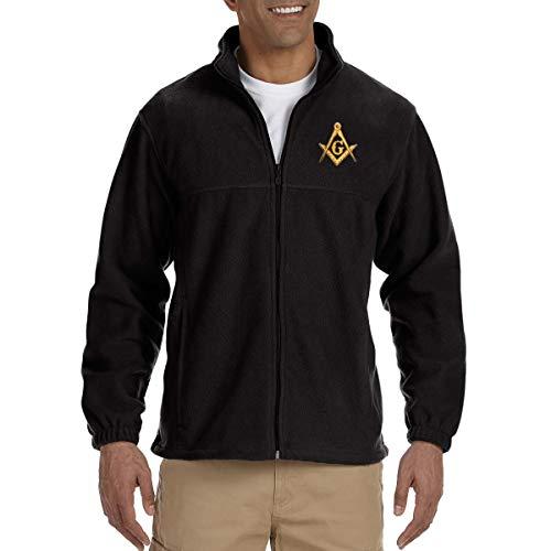 Square & Compass Embroidered Masonic Men's Fleece Full-Zip Jacket - [Black][X-Large]