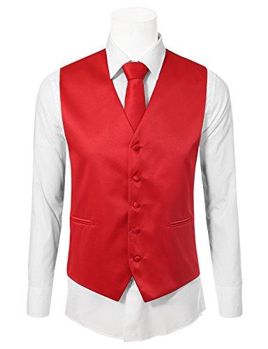 JD Apparel Men's Solid Color Tuxedo Vest 3 Pieces Set 2XLarge Red
