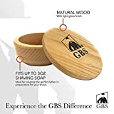 GBS Shaving Soap Bowl + Lid Cover & Shave Soap - Natural Beechwood Bowl & Natural Driftwood Shaving Soap. Ultimate Lathering Soap Cup. Use with Shaving Bristle Brush for a Wet Shave.