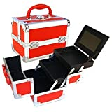 Seya Red Mini Train Case with Mirror, Bags Central