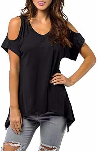 ZANZEA Women's Off Shoulder Short Sleeve Irregular Hem Blouses Tee Shirts Tops