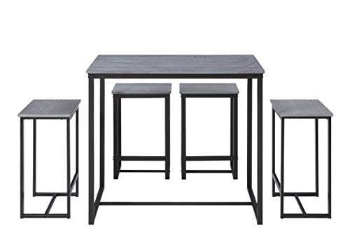 Abington Lane Kitchen Table Set with 4 Stools - Versatile, Tall, Modern Table Set for Any Room or Occasion (Heathered -