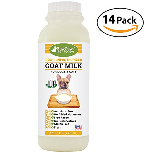 Raw Goat - Raw Paws Pet Frozen Raw Goats Milk for Dogs and Cats, 16-ounce/14 pack - Dog Food Topper & Nutritional Milk Supplement, Milk Replacer for Puppies, Enhance Bland Dog Food, Sensitive Stomach Dog Food