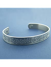 Stainless Steel Celtic Knotwork Design Bangle with Therapeutic Magnets