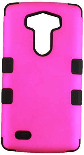 Asmyna Titanium TUFF Hybrid Phone Protector Cover for LG G3 - Retail Packaging - Solid Hot Pink/Black (Lg G3 Titanium)
