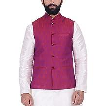 KISAH Men's Jaquard Cotton Silk Nehru Jacket